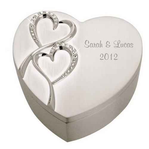 Description: Personalized Wedding Romance Silver Heart Keepsake Box