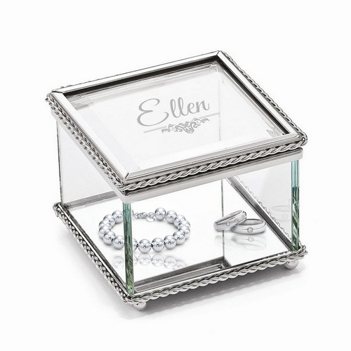 Description: Personalized Glass Jewelry Trinket Box for Her